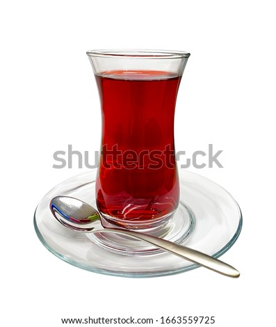A glass of Turkish tea on isolated white background
