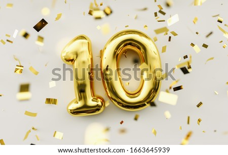 10 years old. Gold balloons number 10th anniversary, happy birthday congratulations. Royalty-Free Stock Photo #1663645939