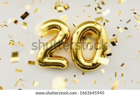20 years old. Gold balloons number 20th anniversary, happy birthday congratulations Royalty-Free Stock Photo #1663645945