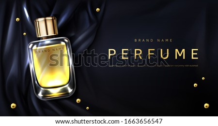 Perfume bottle on black silk folded fabric background. Glass flask with gold liquid and scattered pearls. Scent fragrance package design mockup, beauty cosmetic banner Realistic 3d vector illustration #1663656547