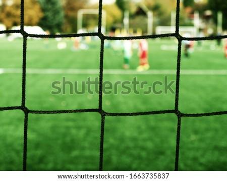 Goalie Guards Soccer Football Goal. Goalkeeper catching a bal