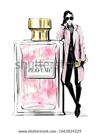 Hand drawn beautiful young woman with large perfume bottle. Fashion look. Stylish girl in fashion clothes. Woman in pink coat. Sketch. Fashion illustration.
