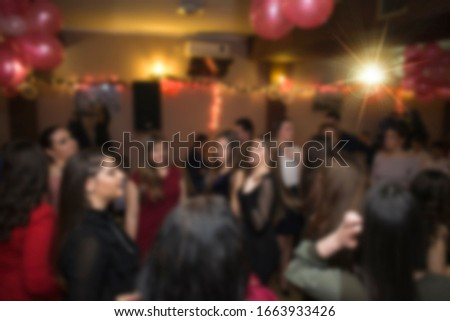 Birthday party or New Year celebration, blurred image for background usage.
