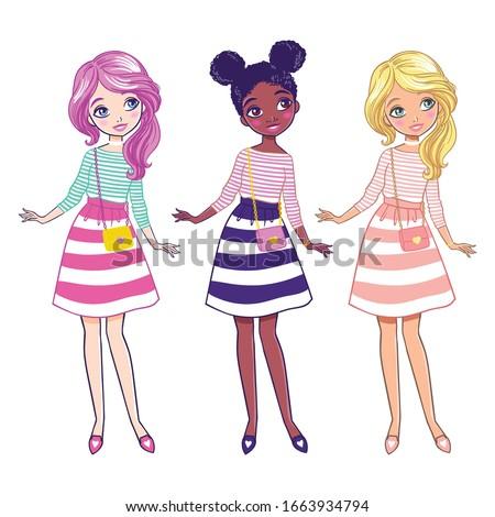 Cute girl in nice dress. Children vector illustration.  #1663934794