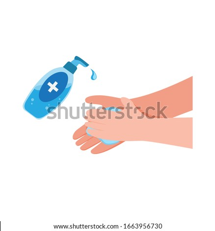 washing hand with Antibacterial hand sanitizer, disinfection gel symbol in cartoon flat illustration vector isolated in white background #1663956730