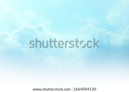 Blue Sky with white cloud and clear abstract. Beautiful air sunlight with clound scape colorful. Blackdrop for wallpaper backdrop background.  #1664004130