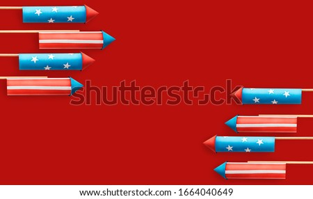 abstract photo collage on the topic American Independence Day celebration banner with fireworks rockets made in american flag style