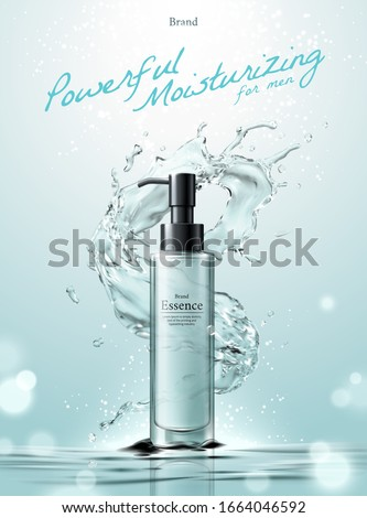 Cosmetic essence ads with water splashes effect upon water surface bokeh background in 3d illustration #1664046592