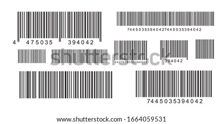 Set of industrial QR codes and scan barcodes label. Marketing, internet concept. Modern simple flat barcodes signs. Flat black vector illustration on a white background. EPS 10