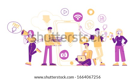 Free Download Concept. Characters around of Huge Smartphone Transfer and Sharing Files Using Torrent Servers Services. Online Media Shopping, Modern Lifestyle Cartoon Flat Vector Illustration Line Art