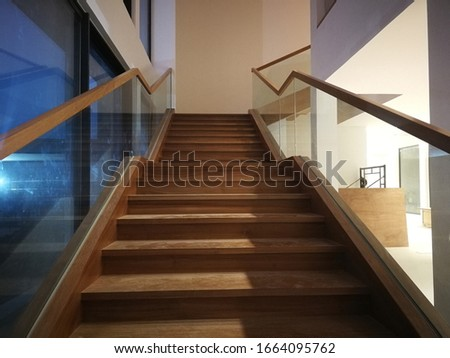 a wooden stair in the modern house #1664095762