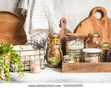 Waste-free domestic life. Kitchen storage of reusable products for the environment and zero waste life. Plastic free life. Zero waste concept.  Royalty-Free Stock Photo #1664101444