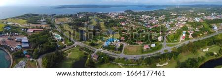 An aerial panorama view Kudat town,Sabah,Malaysia. #1664177461