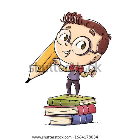 student kid with pencil and books