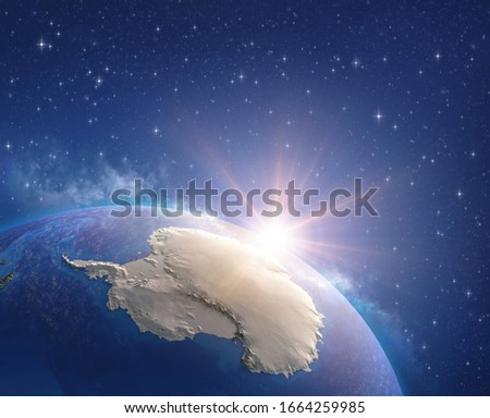Antarctica continent viewed from a satellite, sun rising on the horizon, ice melting down. Physical map of South Pole. 3D illustration - Elements of this image furnished by NASA. #1664259985
