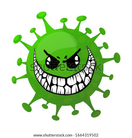 Cartoon angry coronavirus. green microbe .vector illustration.isolated on white background #1664319502