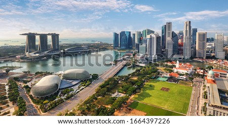 Aerial view of Singapore city at day Royalty-Free Stock Photo #1664397226