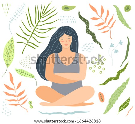 Yoga and relaxation woman sitting with floral decoration shapes clip art. Design of beautiful woman sitting relaxing in yoga pose. Flat illustration.