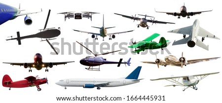 set of airplane and helicopter flying isolated on white. air transportation concept