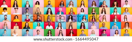 Photo collage of cheerful excited glad optimistic crowd of different human have toothy beaming smile wear casual clothes isolated over bright multicolored background #1664495047