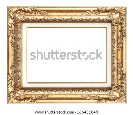 Picture frame gold wood frame in white background. #166451048