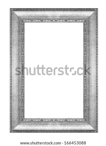 old antique vintage silver frames. Isolated on white background