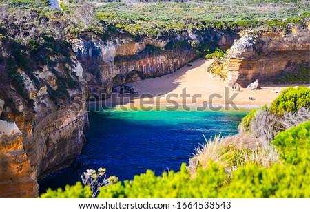 Mountain sea bay beach view. Sea bay beach in mountains. Mountain sea beach landscape #1664533543