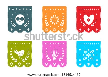 Mexican Day of the Dead Flags with symbols patterns. Flags for dia de los muertos decoration in Mexico, isolated on white objects clip art.
