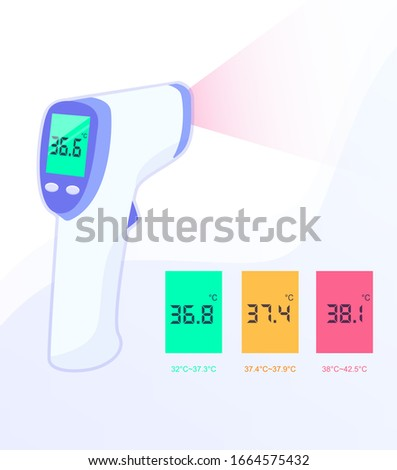 Infrared non-contact temperature thermometer gun for forehead with temperature range standards. Vector eps illustration.