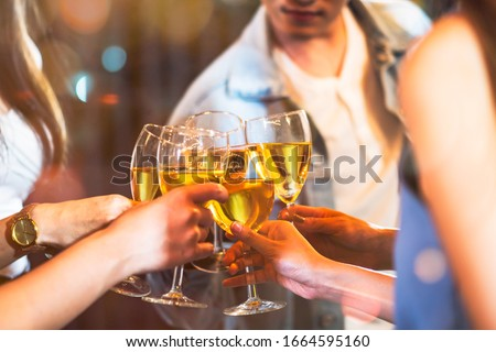 Group of beautiful Asian friendship people celebrating at rooftop party together, gang of best friend having cheerful drink and dance in music fun night lifestyle with light flare and bokeh background #1664595160