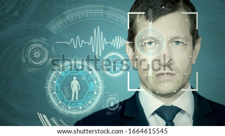 Photo Face recognition by meshing and scanning the eye. Biometric verification and identification. Technology of the future. #1664615545