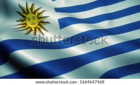 Uruguay flag waving in the wind. National flag of Uruguay. Sign of Uruguay. 3d illustration. #1664647468