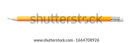 Pencil isolated on white background, top view Royalty-Free Stock Photo #1664708926