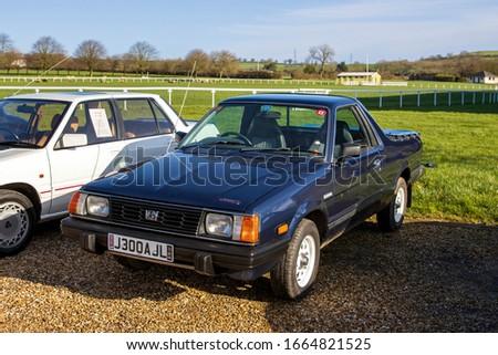 Shepton Mallet, UK, Febuary 08, 2020: Subaru 284 4WD Pick Up, 1994, Reg No: J300 AJL, at The Great Western Classic Car Show, Shepton Mallet UK #1664821525