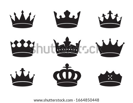 Set of black vector king crowns and icon on white background. Vector Illustration. Emblem and royal symbols.