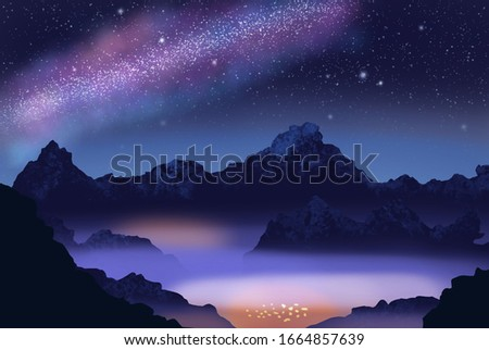 Starry night sky with small town and mountains illustration #1664857639