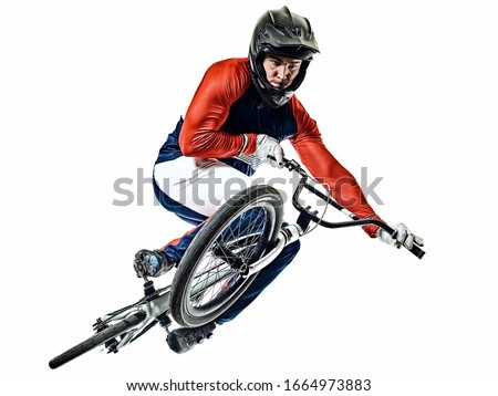 one caucasian BMX racer jumping in studio silhouette isolated on white background Royalty-Free Stock Photo #1664973883