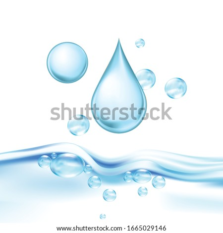 Falling Mineral Water Drop And Air Bubbles Vector. Drinking Crystal Clear Water For Quenching Thirst, Fresh Aqua Wavy Transparent Purity Nature Liquid. Concept Template Realistic 3d Illustration #1665029146