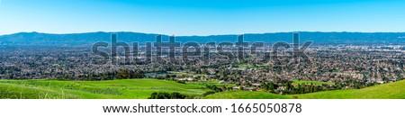 Aerial view of silicon valley, San Francisco bay area, USA.
