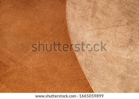 Natural leather texture. Brown-beige leather combination background.Smooth and matte leather material. material for shoes and clothes.Texture of  brown leather. #1665059899