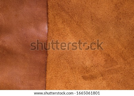 Brown leather.Natural leather combination background.Smooth and matte leather material. material for shoes and clothes.Texture of  brown leather. #1665061801