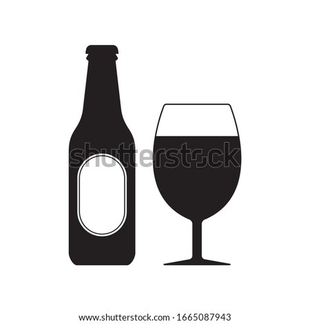 Beer bottle with glass icon. Alcohol drink silhouette.