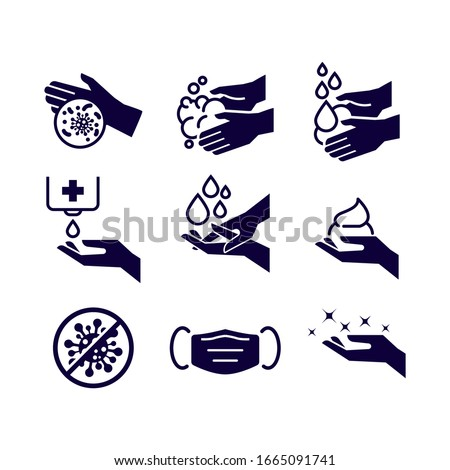 Set of Hygiene icons. The icons as hand wash, soap, alcohol, detergent, anti bacteria and mask. Vector illustrations. #1665091741