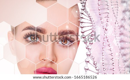 Beautiful sensual woman and glass DNA stems over light pink background. Science of beauty concept #1665186526