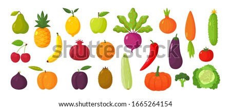 Vector set of juicy fruits and vegetables in cartoon style . Healthy lifestyle, vegetarianism Royalty-Free Stock Photo #1665264154