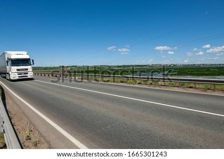 summer photography, trucks driving, river bridge over the river, Russia Tatarstan Menzilinsk 2019 06 25  #1665301243