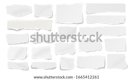 Set of paper different shapes ripped scraps, fragments, wisps isolated on white background Royalty-Free Stock Photo #1665412261