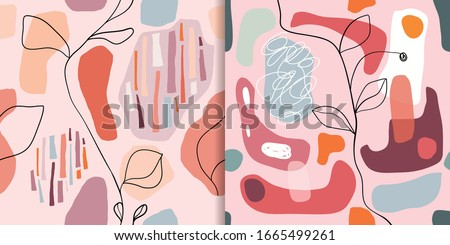 Abstract seamless patterns set with organic cut out shapes,wall decoration, trendy design #1665499261