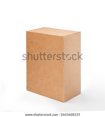 Brown cardboard box isolated on white background with clipping path. Suitable for food, cosmetic or medical packaging. #1665668233