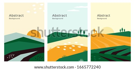 Vector illustrations with farm land, nature, agricultural landscape. Banners with agriculture or farming concept. Set of abstract backgrounds. Design template for flyer, poster, book or brochure cover #1665772240